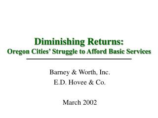 Diminishing Returns: Oregon Cities' Struggle to Afford Basic Services