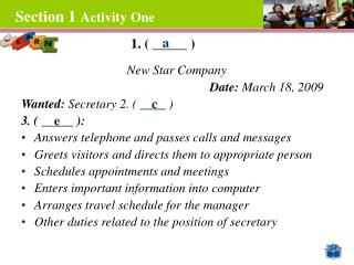 Section 1 Activity One