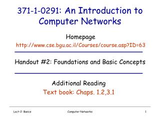 371-1-0291 : An Introduction to Computer Networks