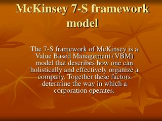 McKinsey 7-S framework model