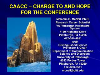 CAACC – CHARGE TO AND HOPE FOR THE CONFERENCE