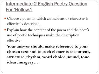 Intermediate 2 English Poetry  Question For 'Hollow.':
