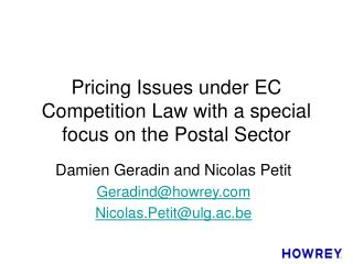 Pricing Issues under EC Competition Law with a special focus on the Postal Sector