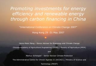 Promoting investments for energy efficiency and renewable energy through carbon financing in China