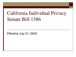 California Individual Privacy Senate Bill 1386