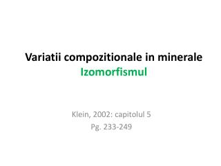 Variatii compozitionale in minerale Izomorfism ul