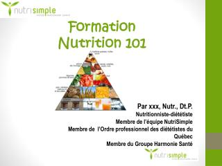 Formation Nutrition  101