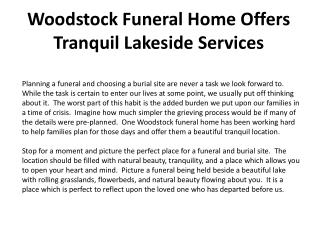 Woodstock Funeral Home Offers Tranquil Lakeside Services