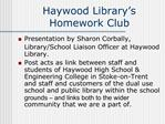Haywood Library s Homework Club