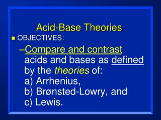 Acid-Base Theories