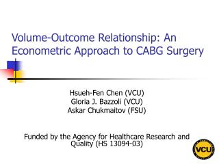 Volume-Outcome Relationship: An Econometric Approach to CABG Surgery