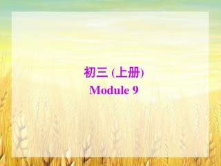 初三  ( 上册 ) Module 9