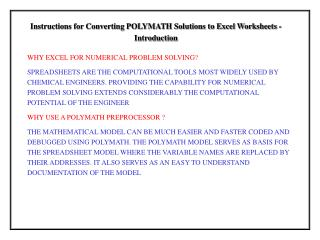 Instructions for Converting POLYMATH Solutions to Excel Worksheets - Introduction
