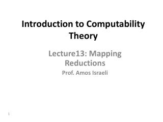Introduction to Computability Theory