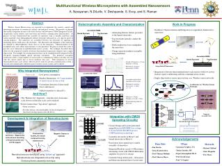 Multifunctional Wireless Microsystems with Assembled Nanosensors A. Narayanan, N.DiLello, V. Deshpande, S. Evoy, and S.