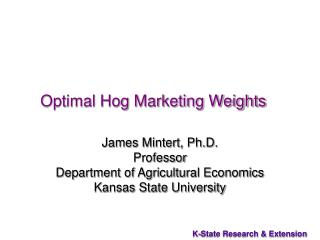 Optimal Hog Marketing Weights