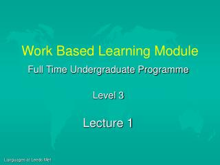 Work Based Learning Module