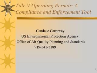 Title V Operating Permits: A Compliance and Enforcement Tool