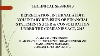 CA (DR.) SANJEEV SINGHAL HEAD: CENTRE OF  EXCELLENCE FOR ACCOUNTING  AND MANAGEMENT ASSURANCE