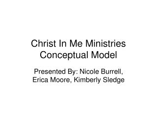 Christ In Me Ministries Conceptual Model