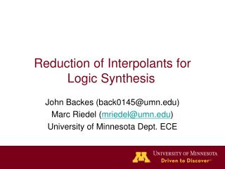 Reduction of Interpolants for Logic Synthesis