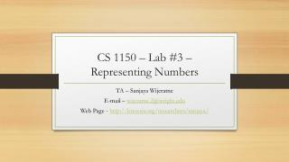 CS 1150  – Lab #3 – Representing Numbers