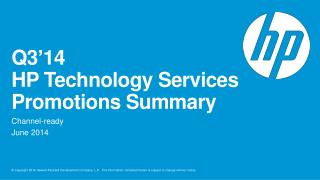 Q3'14  HP Technology Services  Promotions Summary