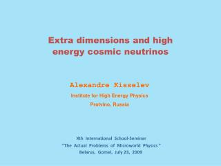 Alexandre Kisselev Institute for High Energy Physics Protvino, Russia