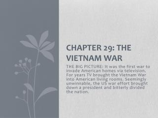 Chapter 29: The Vietnam War