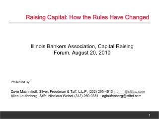 Raising Capital: How the Rules Have Changed
