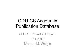 ODU-CS Academic Publication Database