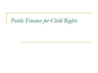 Public Finance for Child Rights