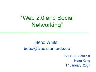 """Web 2.0 and Social Networking"""