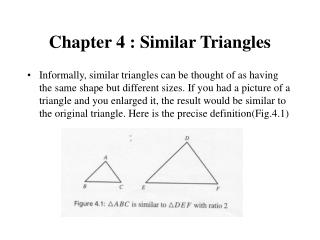 Chapter 4 : Similar Triangles