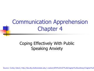 Communication Apprehension Chapter 4