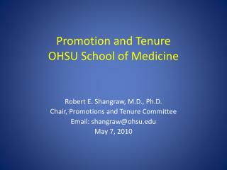 Promotion and Tenure OHSU School of Medicine