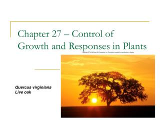 Chapter 27 – Control of Growth and Responses in Plants