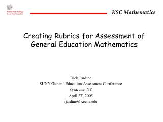 Creating Rubrics for Assessment of General Education Mathematics