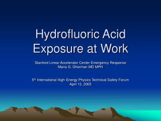 Hydrofluoric Acid  Exposure at Work