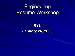 Engineering Resume Workshop