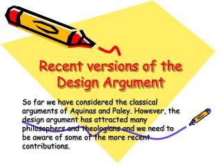 Recent versions of the Design Argument