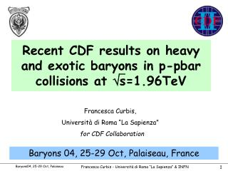 Recent CDF results on heavy and exotic baryons in p-pbar collisions at   s=1.96TeV