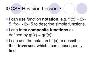 IGCSE Revision Lesson 7