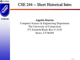 CSE 244 -- Short Historical Intro