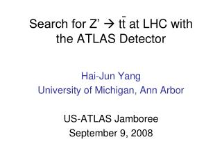 Search for Z'   tt at LHC with  the ATLAS Detector