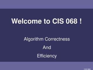 Welcome to CIS 068 !