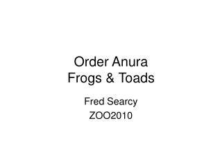 Order Anura Frogs & Toads