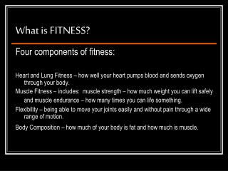 What is FITNESS?