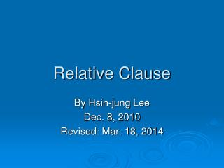 Relative Clause
