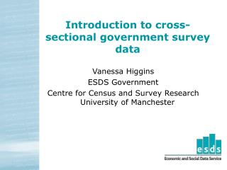 Introduction to cross-sectional government survey data